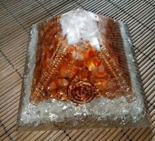 Orgone Pyramid Stone Carnelian- Lemurian Crystal- Selenite- Copper- Pyrite 9cm