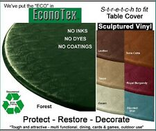 """Elastic Edge Round Fitted Vinyl Tablecloth  Cover 36"""" to 48"""" Colonial Blue"""