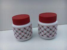 Set of 2 Red & White Vintage Storage Jars Pyrex White Milk Glass 1980's VGC