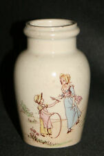 ancien pot à moutarde porcelaine peinte de Lunéville signé K.A.G. fin XIX ème