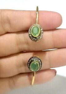 Smeraldo Naturale Gemma Braccialetto Massiccio 925 Argento Pavé di Diamanti