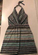 ATHLETA Geo Printed Go Anywhere Halter Dress Size 10 Blues Greens White