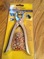 EYELET PLIERS FABRIC PUNCH CANVAS LEATHER HOLE MAKER WITH 100 BRASS EYELETS