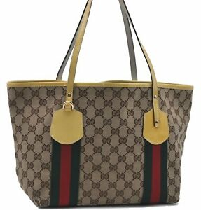 GUCCI Web Sherry Line Shoulder Tote Bag Canvas Enamel 211971 Brown Yellow D5409