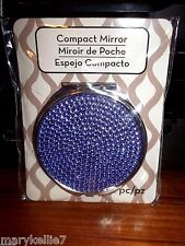 "DOUBLE COMPACT 3"" MIRRORS WITH LAVENDER SHINY BEADS ON TOP OF SILVER METAL"