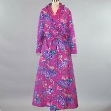Vintage Woman Within Quilted Robe Long Purple Floral Baroque Ruffle Collar Sz L