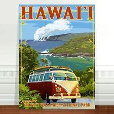 "Retro Hawaii Surf Travel Poster Art ~ CANVAS PRINT 36x24"" Hawaii VW Camper Van"
