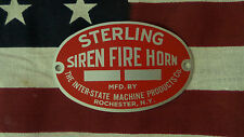 Sterling Fire Horn Type H Hand Crank Siren Inter-State Machine Products Badge