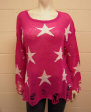 NEW WILDFOX Couture Seeing Stars Lennon Sweater  Magenta SMALL