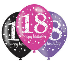 18. Geburtstag Luftballons Pink Schwarz Lila Latexballon 6 St.  Ø27,5 NEU