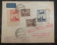 1928 Warsaw Poland Airmail Cover to Lwow Imperf Airmail Stamps Lotnicza