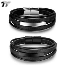 TT Genuine Black Leather 316L Stainless Steel ID Clip Bracelet (BR276) NEW