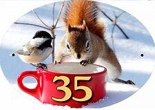 plaque de maison - boite aux lettres écureuil inscription au choix réf 55