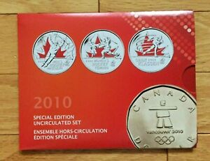 """2010 Mint UNC, Special Edition 9 Coin Set, """"Vancouver Olympics"""" Canada UNC."""