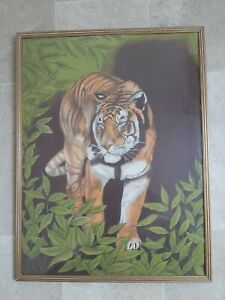 Original Painting of Tiger on Linen Fabric 25 x 19 Inches