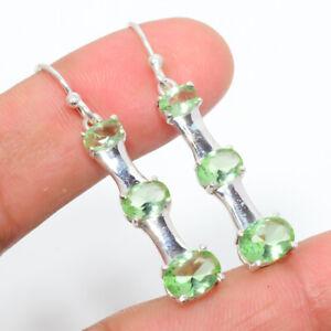 """Green Amethyst Gemstone 925 Sterling Silver Earring Jewelry 1.64"""" E1015-79"""