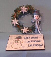 Dollhouse Miniature Pine Wreath Snowman blue white & Let it Snow! Welcome Mat