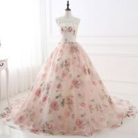 Floral Print Womens Long Formal Prom Lace Dress Evening Cocktail Party Ball Gown