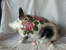 More details for  rare large wemyss exon sitting pig with roses by artist  brian adams  46 cm