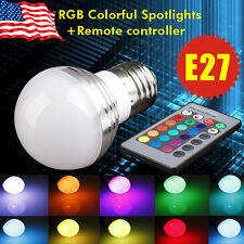 3W E27 RGB Magic LED 16 Muti Color Changing Spot Light Bulb + IR Remote Control
