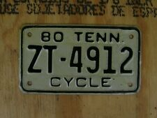 1980 TENNESEE NOTORCYCLE LICENSE PLATE # ZT-4912