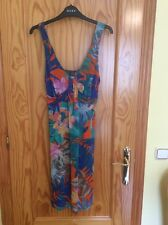 WALLIS  STRETCH DRESS. SIZE 12   BLUE ORANGE. KNEE LENGTH. PULL ON.   + EARRINGS