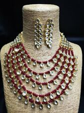 Indian Bollywood Mehroon Pearl Kundan Necklace Earring Set Wedding Diwali Jewel