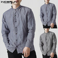 INCERUN Men's Vintage Striped Shirt Grandad Collarless Causal Loose Top Blouse