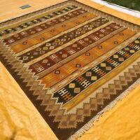 Large Wool Kilim Navajo Southwestern Bohemian Brown Rug 8'x10' Handmade Rug