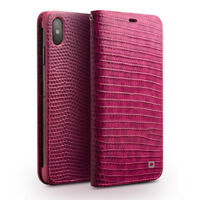 QIALINO Crocodile Texture Geniune Cowhide Leather Wallet Case for iPhone XS Max