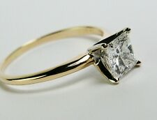 Solitaire 1.09 Carat Princess Cut Diamond Engagement Ring 14k  Gold Si3  H