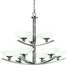 Polished Nickel And Etched Glass 9 Light Chandelier