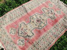 Vintage pure wool Persian rug in rose pink; FREE POST