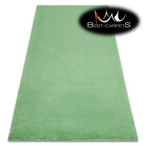 MODERN thick, soft in touch RUG 'BUNNY' GREEN Rabbit fur imitation High Quality