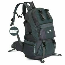 50L Large Outdoor Backpack Hiking Bag Camping Travel Waterproof Bag Pack Gray