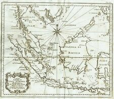 EAST INDIES SUMATRA THAILAND BORNEO SINGAPORE 1754 Bellin Map Original Antique