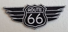 """ROUTE 66 WINGS PATCH 4"""" Cloth Badge/Emblem Biker Jacket American USA Road Trip"""