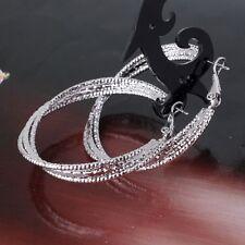 New chic 18k white gold filled vogue eternity wedding hoop earring
