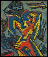 DDR-Kunst 1988 Grosser Linolschnitt Klaus SÜSS (*1951 D) handsigniert numm. 5/12