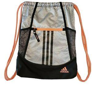 Adidas Alliance II Drawstring Backpack Sackpack Gym Bag White Black Sunglow Pink