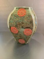Green Ceramic Studio Art Pottery Urn Vase Hand Painted Embossed Red Floral 10""