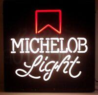 MICHELOB LIGHT BEER SIGN LIGHTED 1980's VINTAGE RARE 18X18 WORKS
