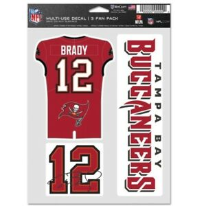 TOM BRADY #12 TAMPA BAY BUCCANEERS 3-MULTI USE DECALS FAN PACK WINCRAFT 👀🔥