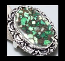 NEW - COPPER GREEN TURQUOISE ANTIQUE SILVER LARGE STATEMENT RING SIZE 9