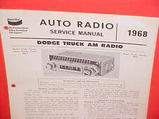 1968 DODGE PICKUP TRUCK POWER WAGON CREW CAB VAN BENDIX AM RADIO SERVICE MANUAL