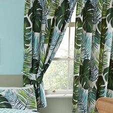"Tropical Palms Curtains 72"" Drop Fully Lined with Tie Backs Nature Chevron"