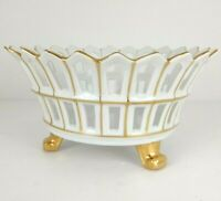 Antique Old Paris Porcelain Reticulated Footed Basket Bowl Claw Feet White Gold