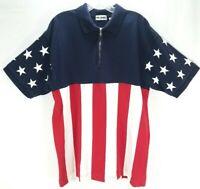 J. Riggings Men's Patriotic American Flag Style Zip SS Polo Golf Blue Shirt Sz L