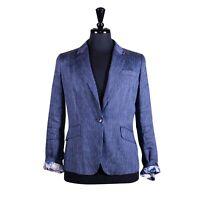 Talbots Women's Pinstripe Blazer Blue Linen Designer Dress Casual Suit Jacket 10