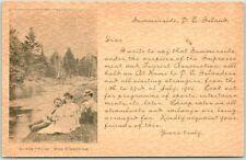 "1910s SUMMERSIDE, Prince Edward Island PEI Canada Postcard ""At the Dunk"" Fishing"